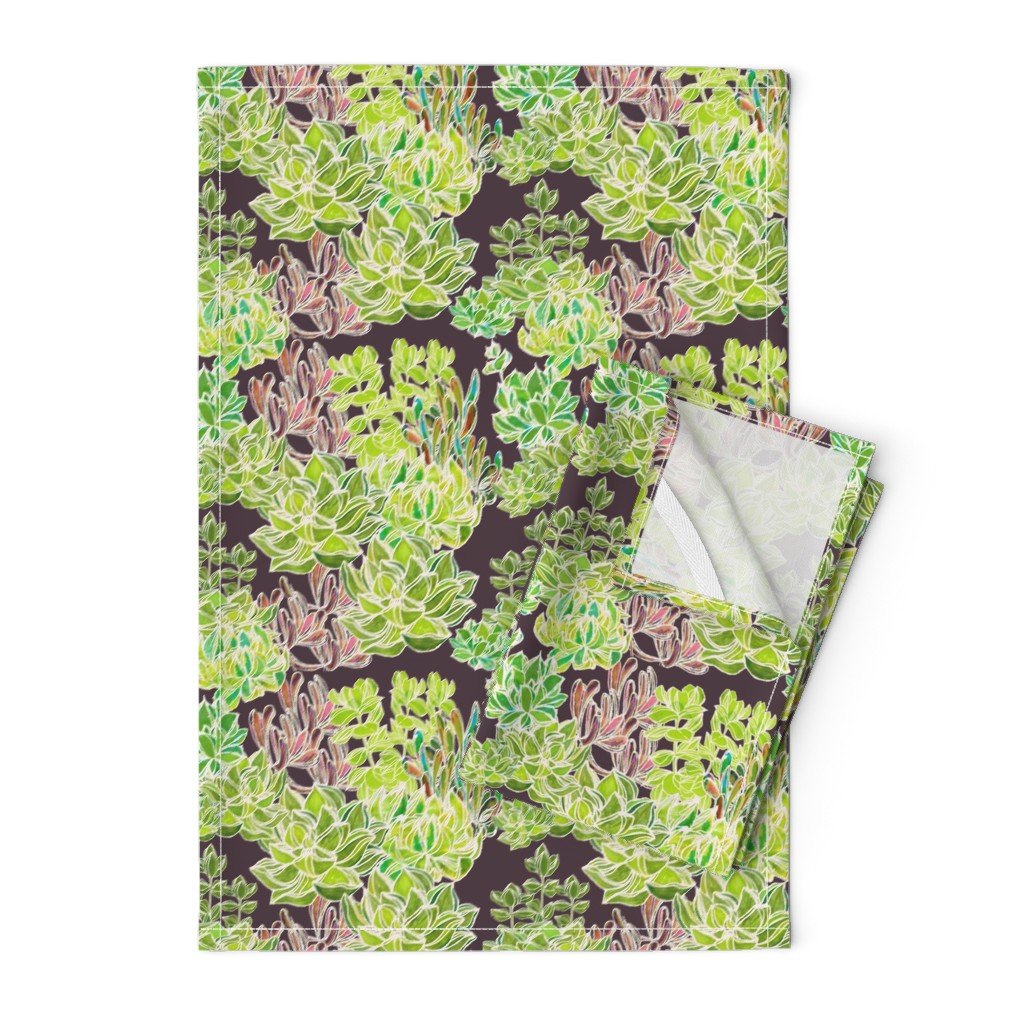 Orpington Tea Towels featuring Modern Desert - Succulents on Plum Background by lisakling