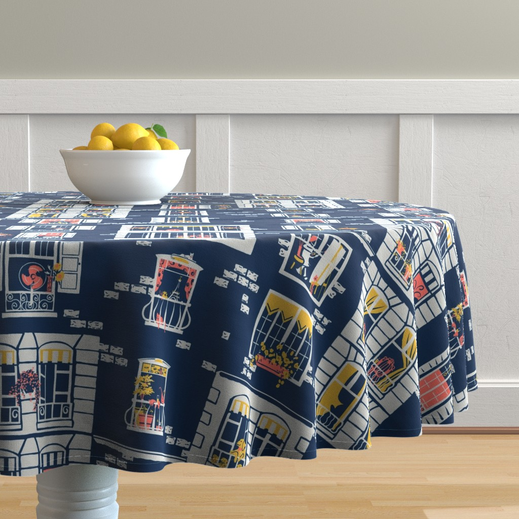 Malay Round Tablecloth featuring Paris Windows by southwind