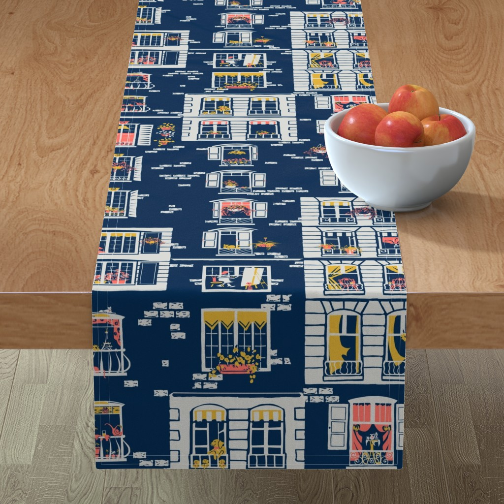 Minorca Table Runner featuring Paris Windows by southwind