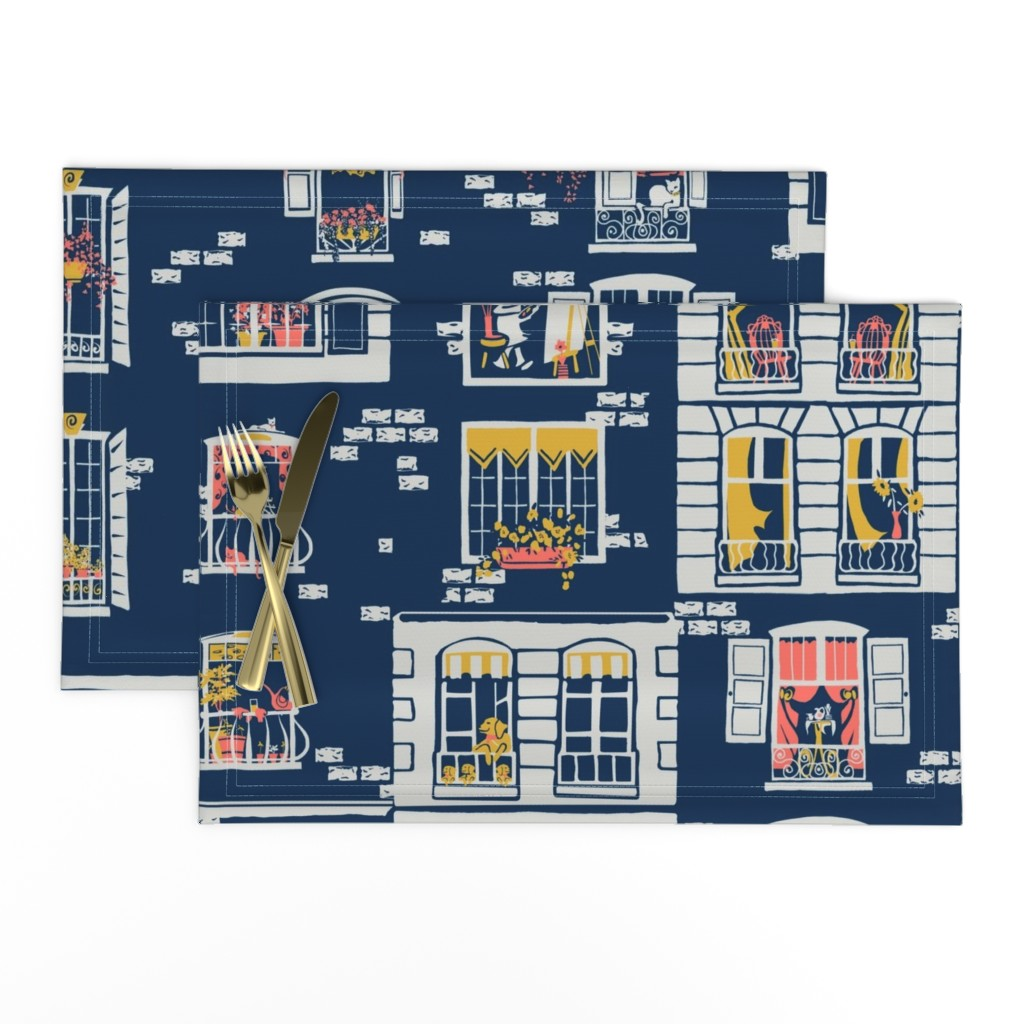 Lamona Cloth Placemats featuring Paris Windows by southwind