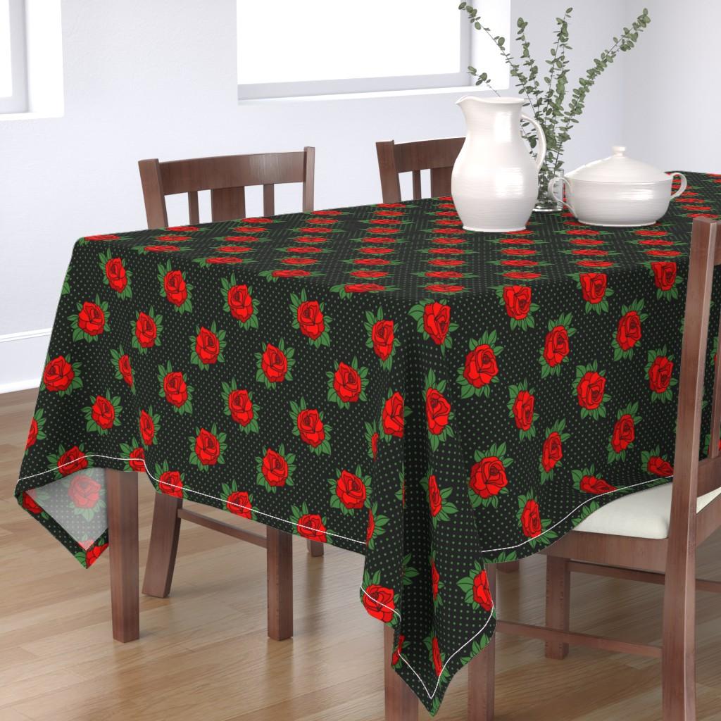 Bantam Rectangular Tablecloth featuring Rockabilly rose on green polka dots by danadu