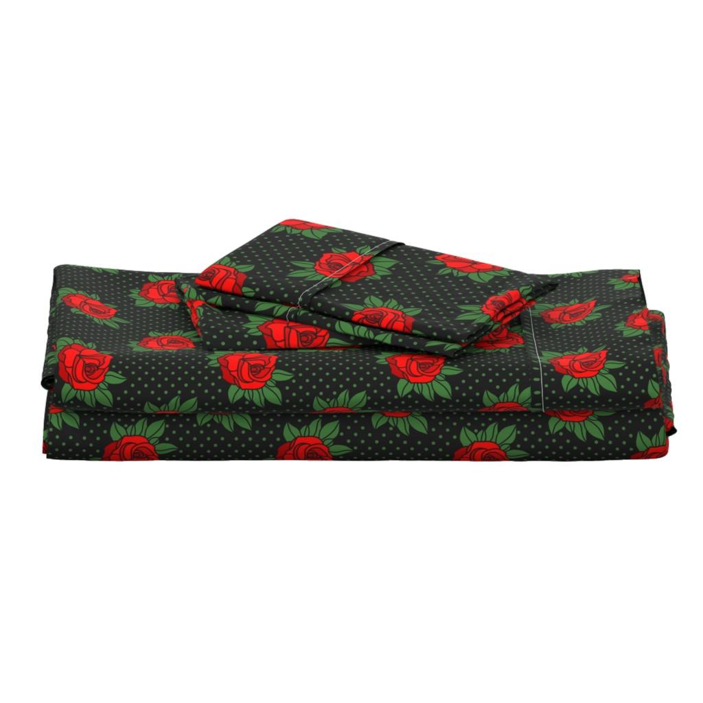 Langshan Full Bed Set featuring Rockabilly rose on green polka dots by danadu