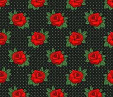 Rockabilly true red rose green polka dots Retro tattoo Wallpaper Fabric