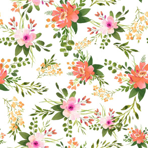 Orange Pink Florals