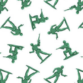 army men - green plastic army men - toy - white - LAD19