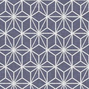 ROTATED (Custom) Hemp leaf pattern pearls on denim gray by Su_G_©SuSchaefer