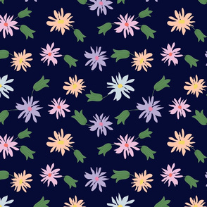 flowers -navy blue