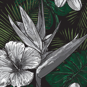 Black and White and Green Tropical Pattern