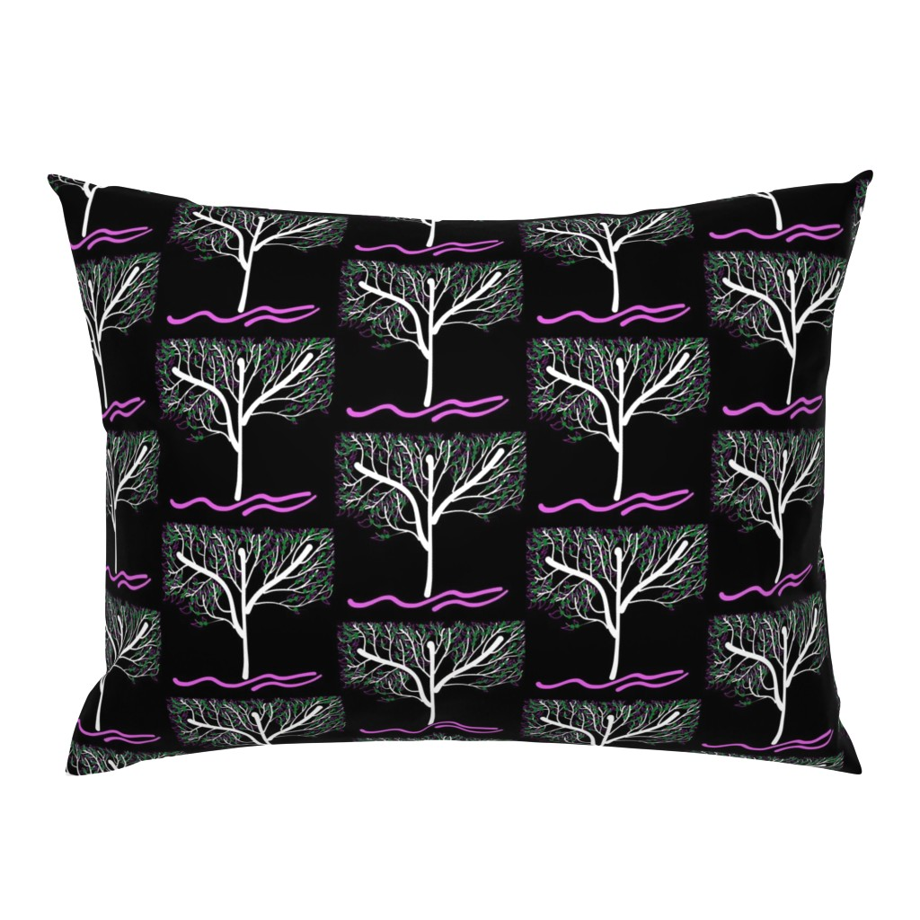Campine Pillow Sham featuring Trees Breathe Life (spring night) - open leaves by bravenewart