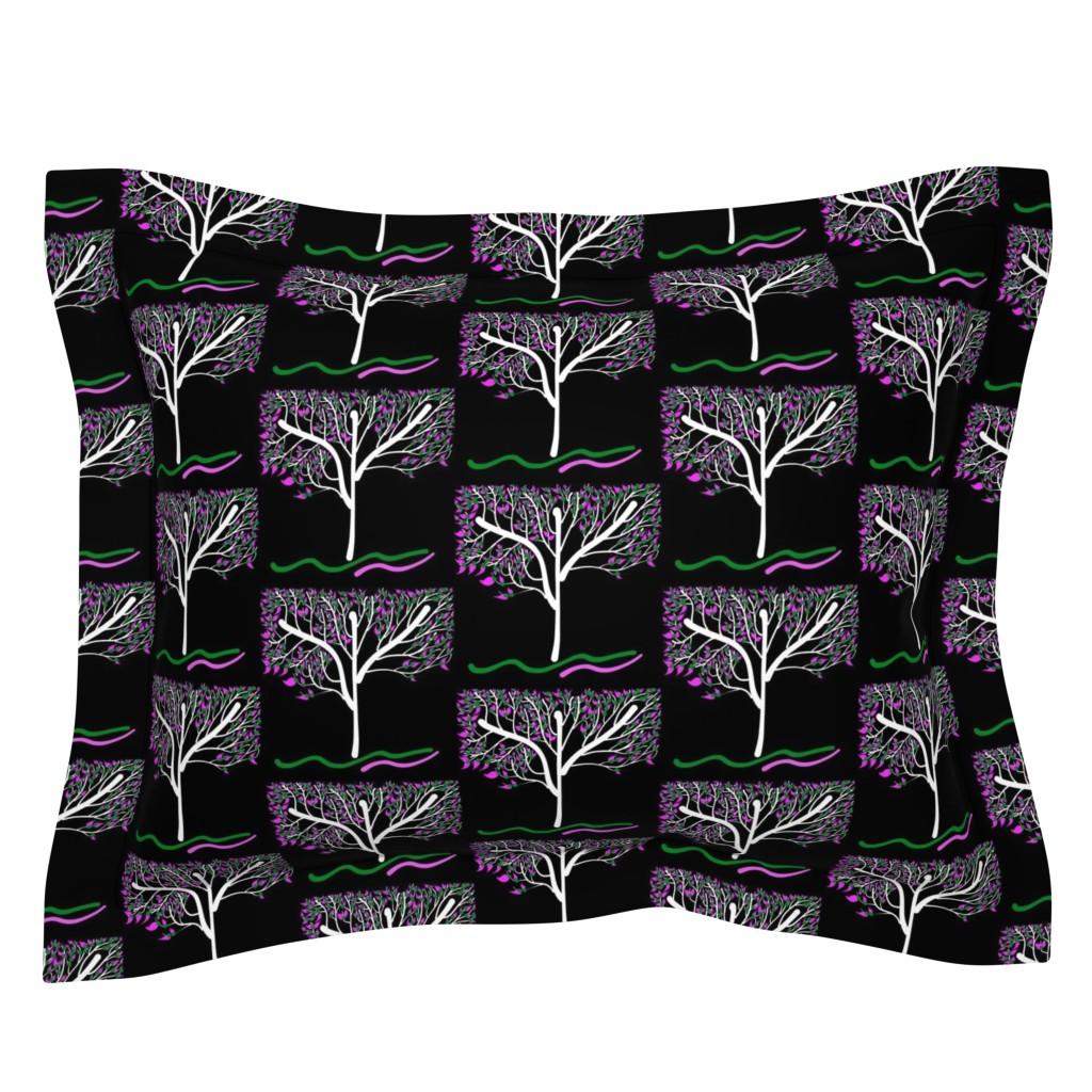 Sebright Pillow Sham featuring Trees Breathe Life (spring night) - closed leaves by bravenewart