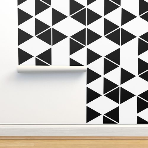 Wallpaper Black And White Geometric Hexagon Triangle Pattern