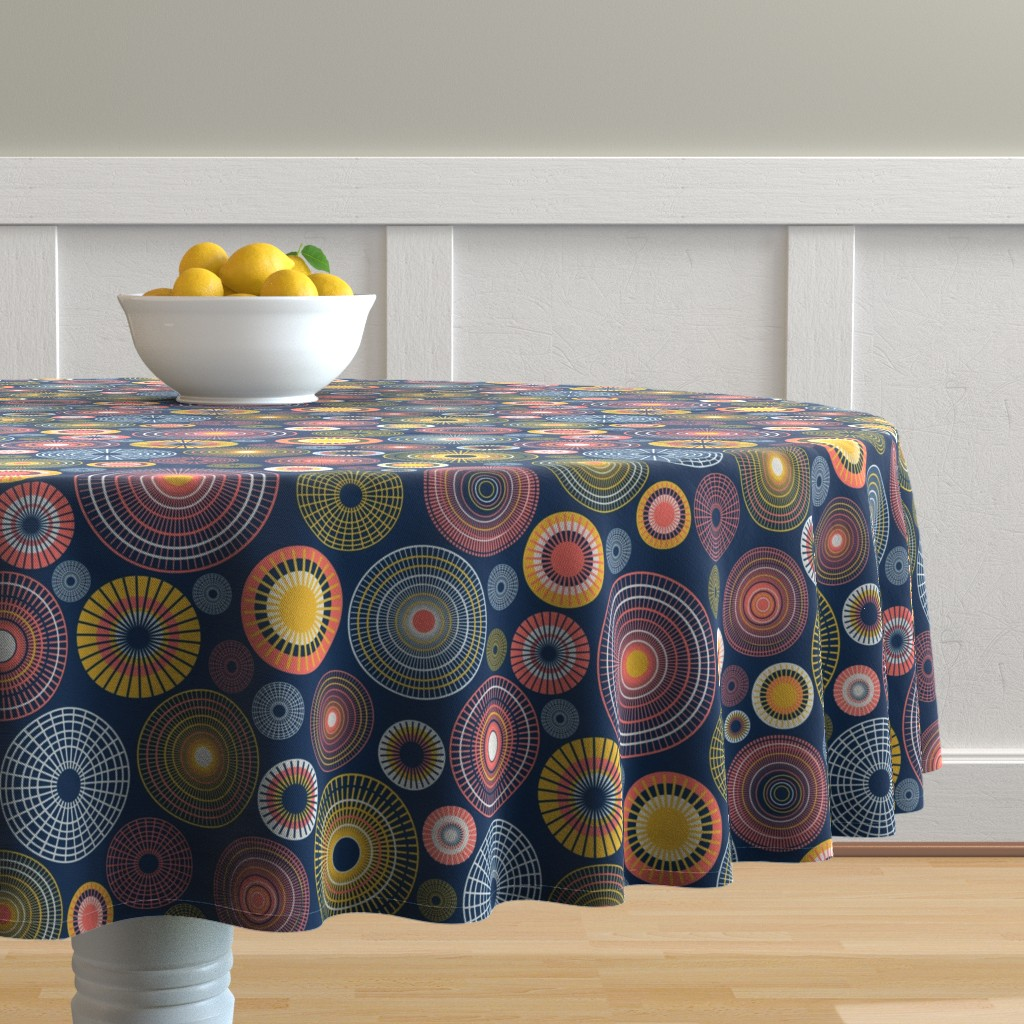 Malay Round Tablecloth featuring colorful circles – dark blue by colorofmagic