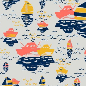 Boatwaterdays coral,navy,golden rod,gray