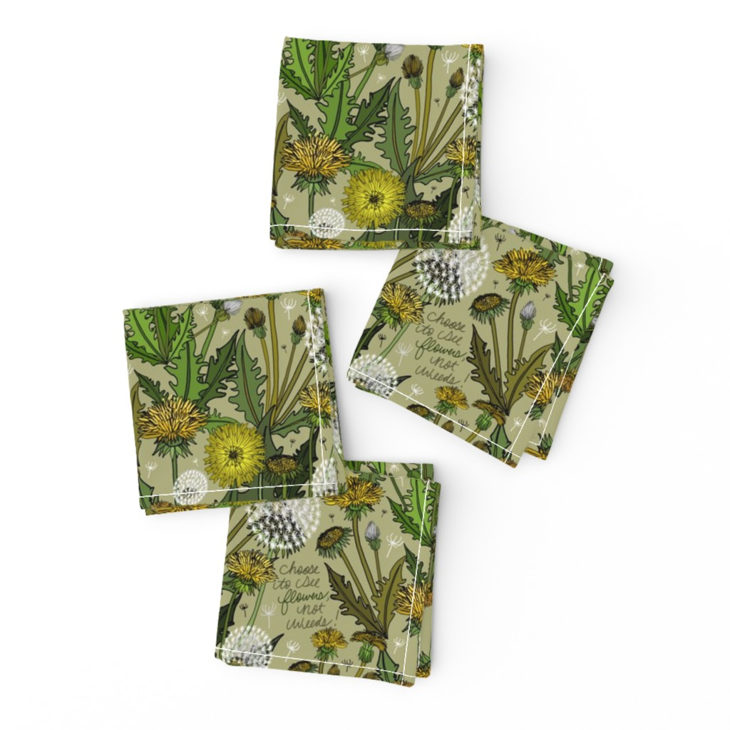 Frizzle Cocktail Napkins featuring Choose To See Flowers, Not Weeds! by irishvikingdesigns