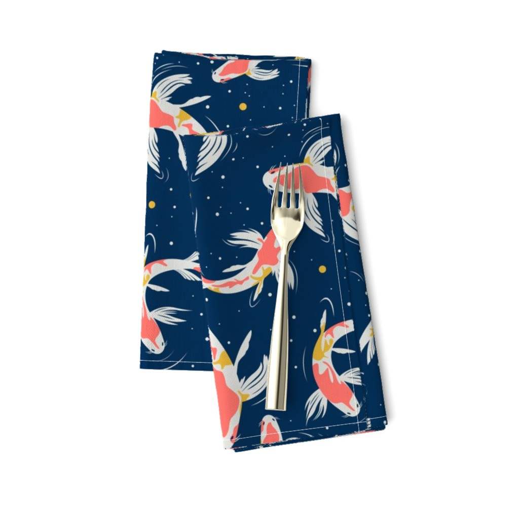 Amarela Dinner Napkins featuring Koi Fishes in the Water by evamatise