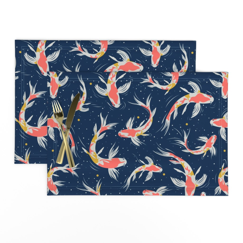 Lamona Cloth Placemats featuring Koi Fishes in the Water by evamatise