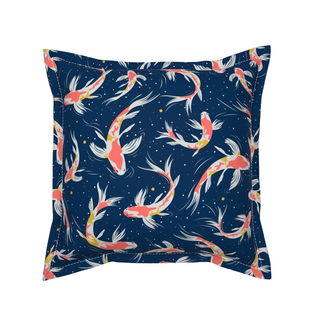 Serama Throw Pillow featuring Koi Fishes in the Water by evamatise