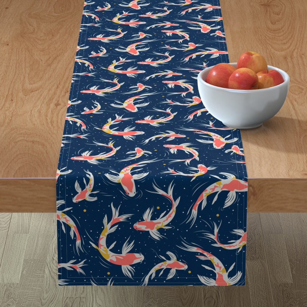Minorca Table Runner featuring Koi Fishes in the Water by evamatise