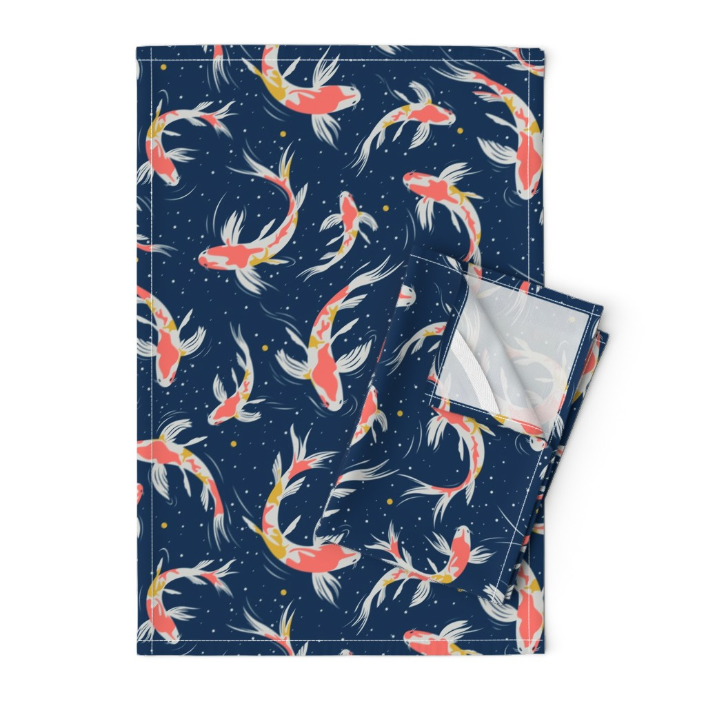 Orpington Tea Towels featuring Koi Fishes in the Water by evamatise