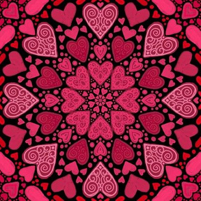 Pink and Red Hearts on Black