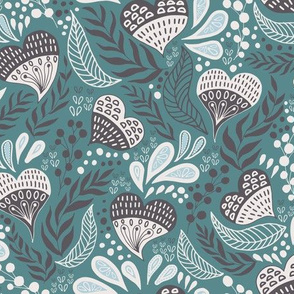 Floral Hearts Day in Teal Gray V.01