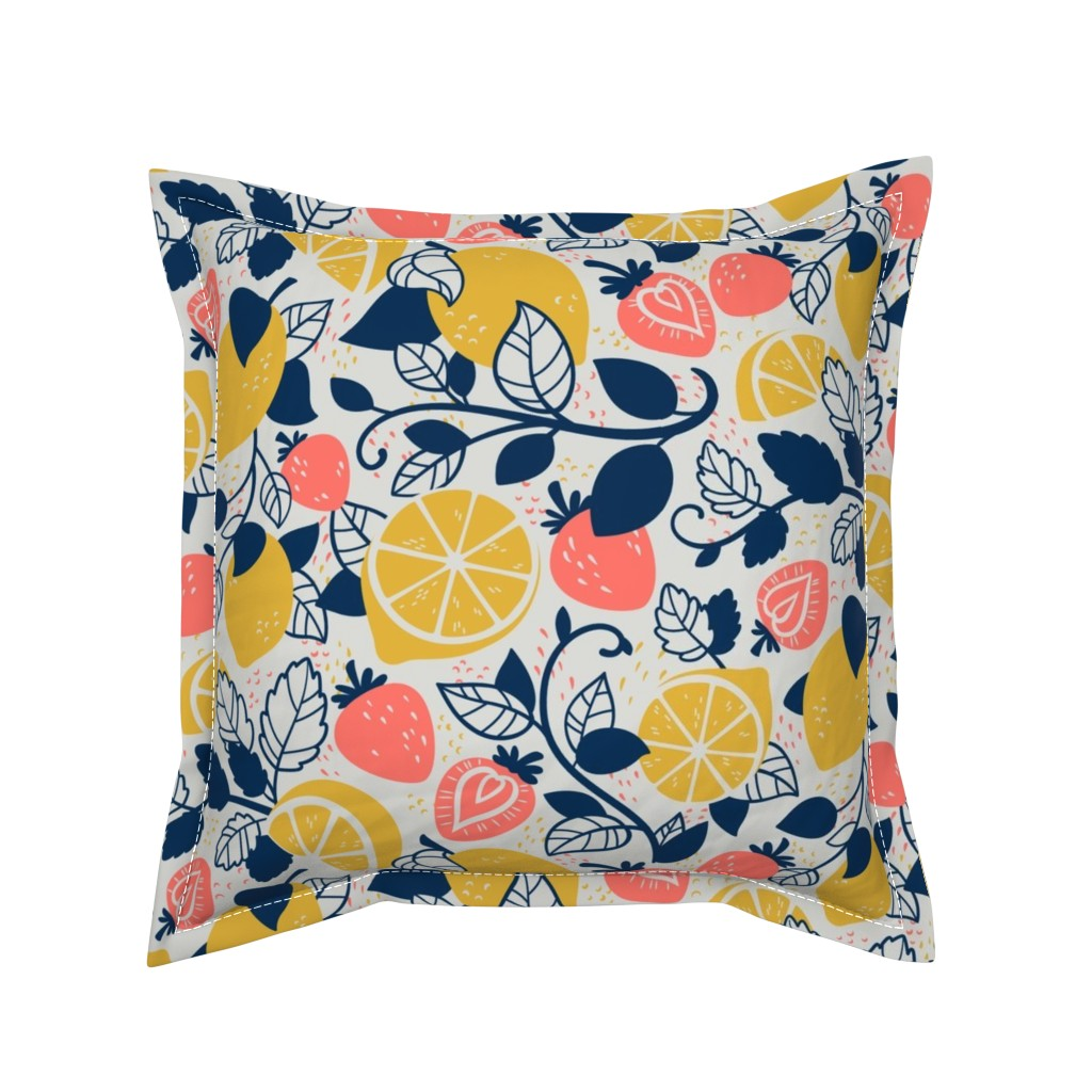 Serama Throw Pillow featuring Lemons and Strawberries by abbilaura