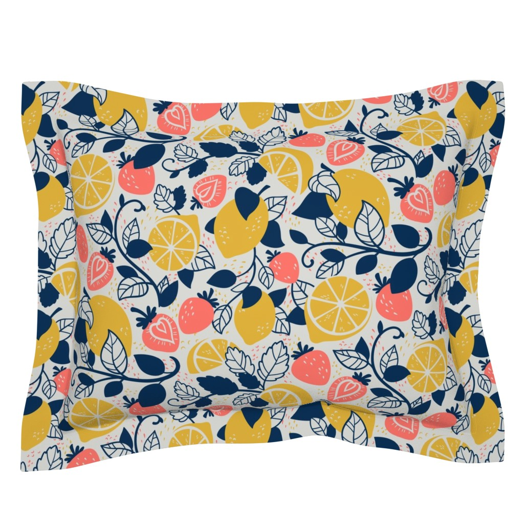 Sebright Pillow Sham featuring Lemons and Strawberries by abbilaura