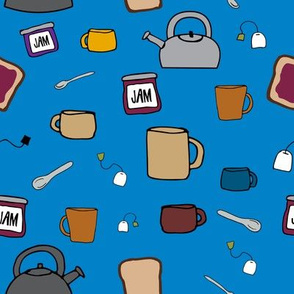 Tea, A Drink with Bread and Jam 1.0 on Blue