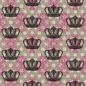 Custom Small Crown Small Damask Small Dot in Bright Pink