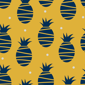 midnight blue and goldenrod pineapples