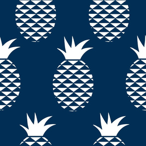 midnight blue and white pineapples