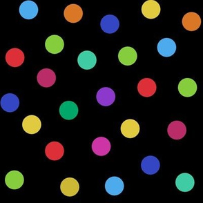 rainbow confetti dots on black