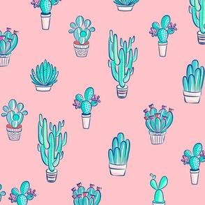 Cute Cactus Pattern on Pastel Pink
