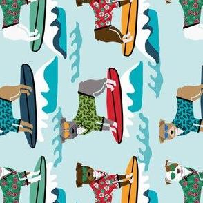 pitbull surfing summer beach dog breed pibble fabric med blue