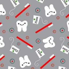 Floss Brush / Teeth / Grey Red / kawaii