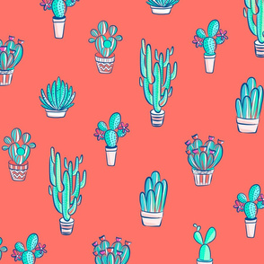 Cute Cactus Pattern on Living Coral