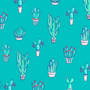 Cute Little Cactus Pattern on Turquoise