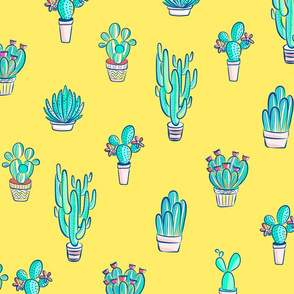 Cute Little Cactus Pattern on Sunny Yellow