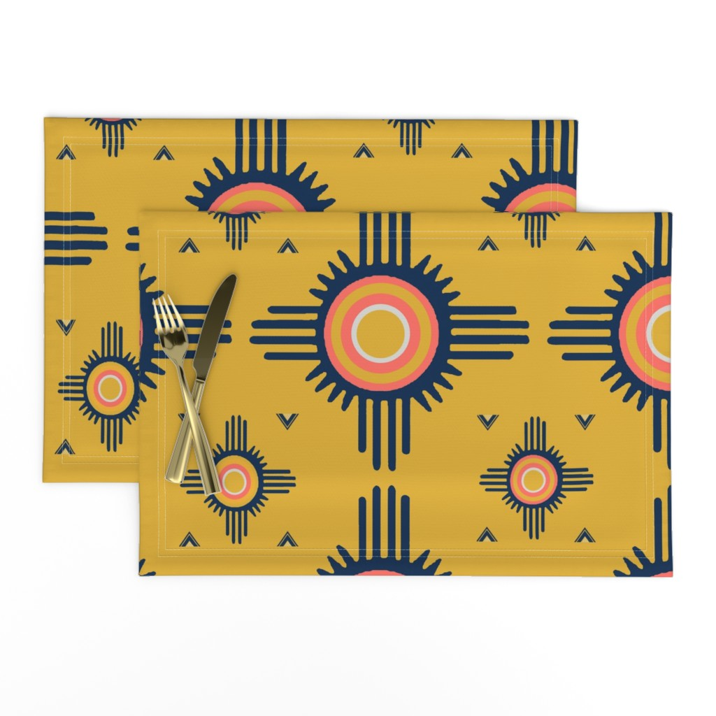 Lamona Cloth Placemats featuring Southwest Zuni del Sol - Design Challenge by vagabond_folk_art