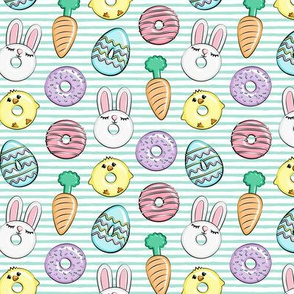 """(1.25"""" scale) easter donuts - bunnies, chicks, carrots, eggs - easter fabric - aqua stripes LAD19BS"""