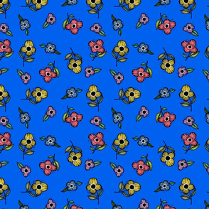 Bright Flowers Dark Blue