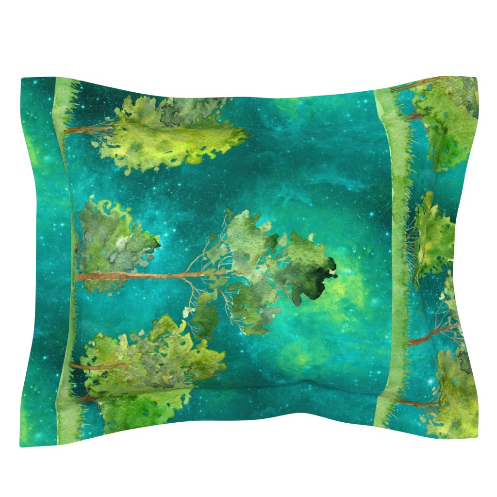 Sebright Pillow Sham featuring MAGIC FOREST LARGE TREES LARGE STRIPES VERTICAL aqua emerald nebula watercolor by floweryhat