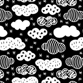 Abstract geometric clouds scandinavian sky winter black and white