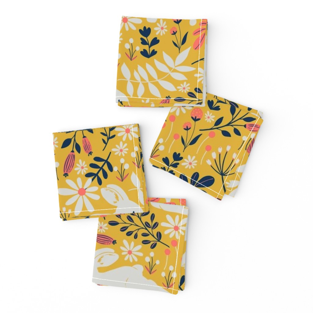 Frizzle Cocktail Napkins featuring Spring Bunnies - Limited Color Palette by red_raspberry_design