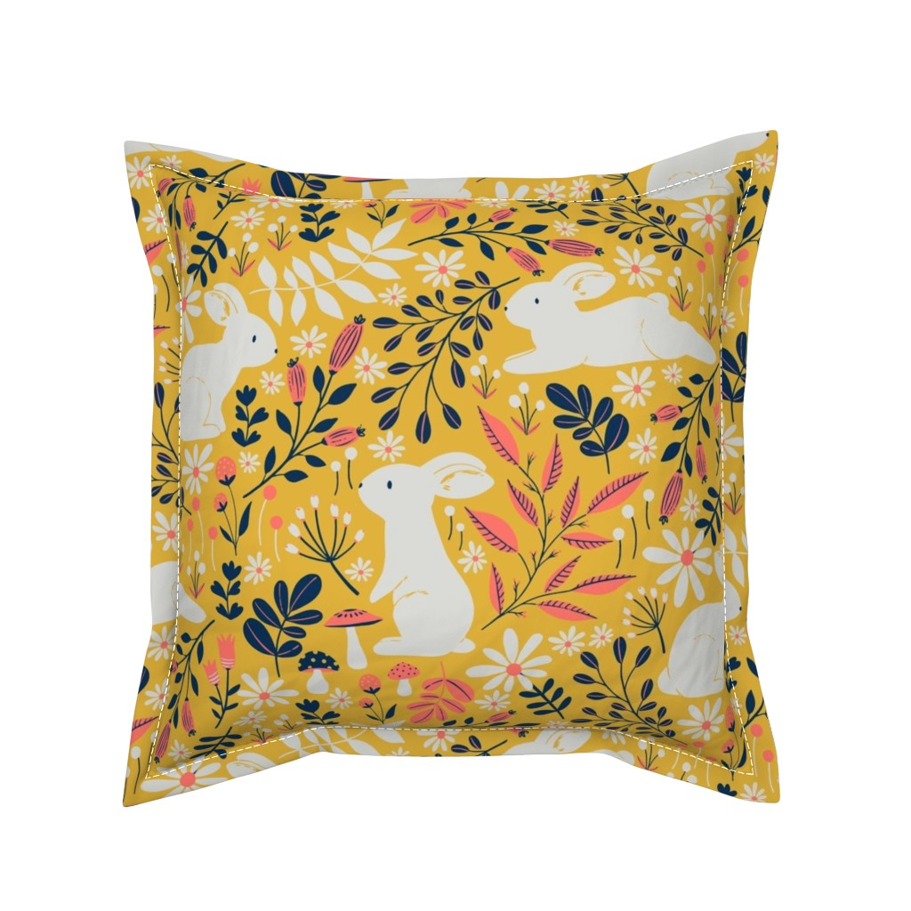Serama Throw Pillow featuring Spring Bunnies - Limited Color Palette by red_raspberry_design