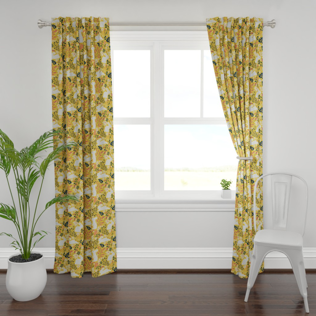 Plymouth Curtain Panel featuring Spring Bunnies - Limited Color Palette by red_raspberry_design