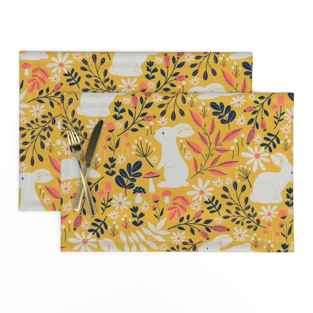 Lamona Cloth Placemats featuring Spring Bunnies - Limited Color Palette by red_raspberry_design