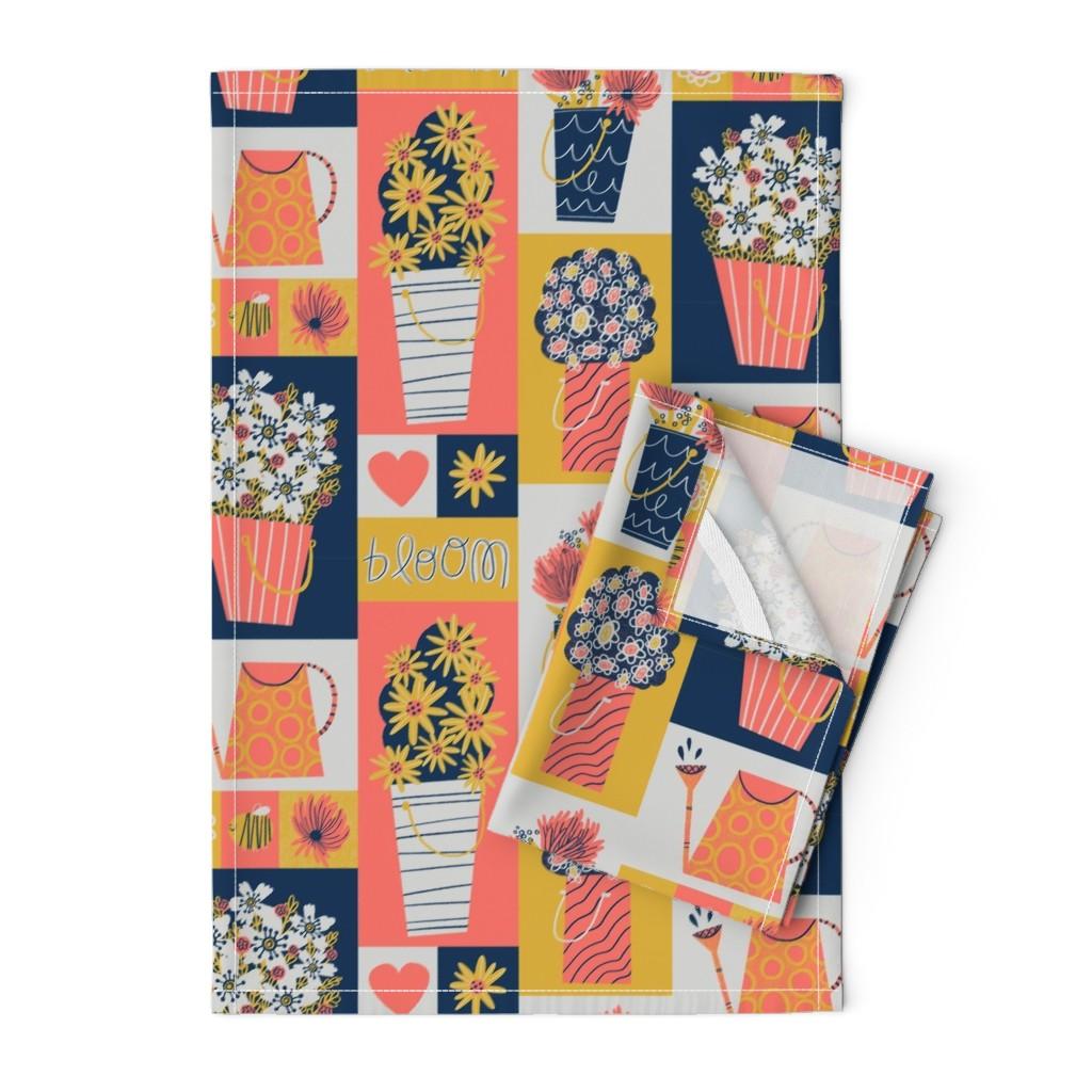Orpington Tea Towels featuring Flower Buckets by juliagreenillustration