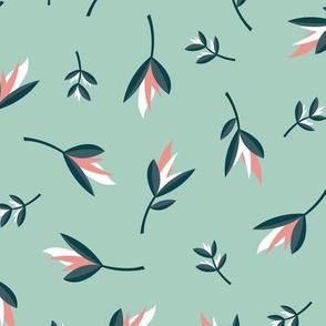 Birds of paradise flowers tropical bikini beach and summer design mint blush pink peach
