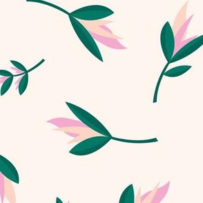Birds of paradise flowers tropical bikini beach and summer design soft green pink JUMBO